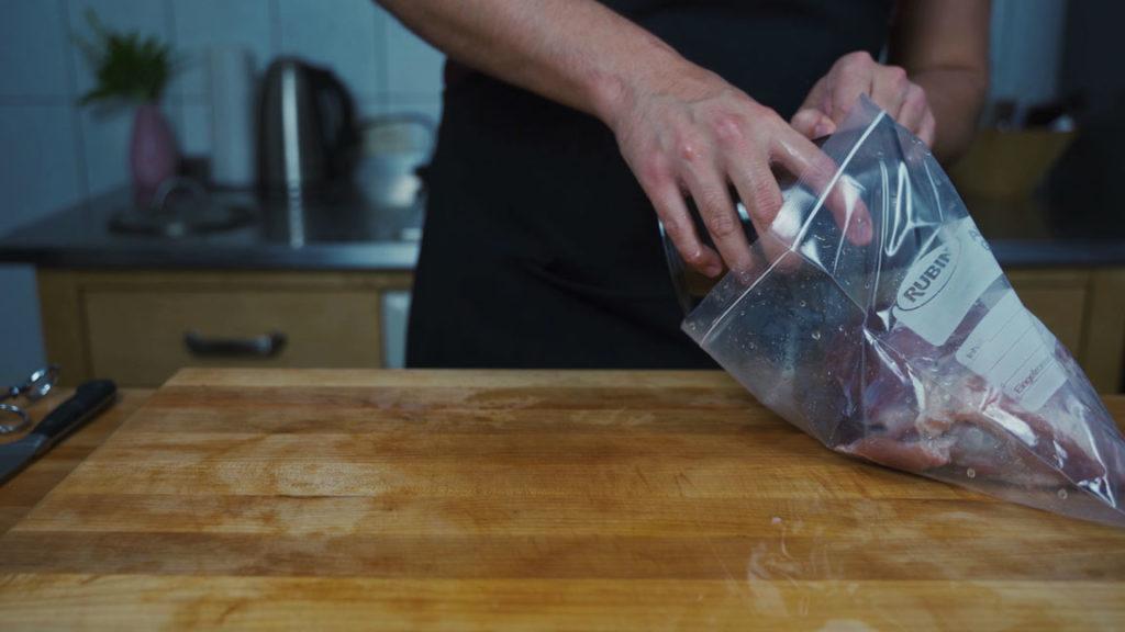 cooked ham - plastic bag