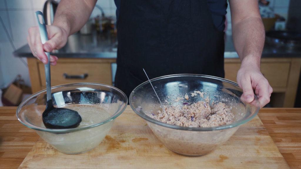onion sausage - leftover broth