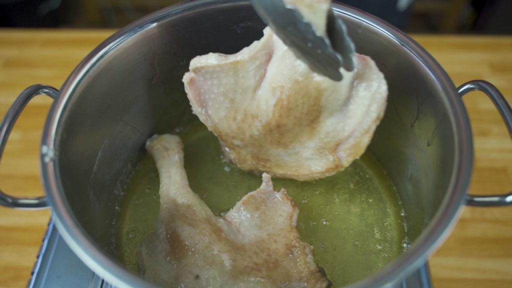 Goose rillette-fry
