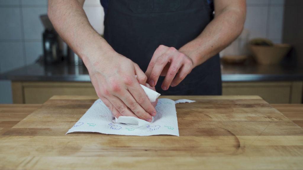 beef cooked ham - kitchen towel
