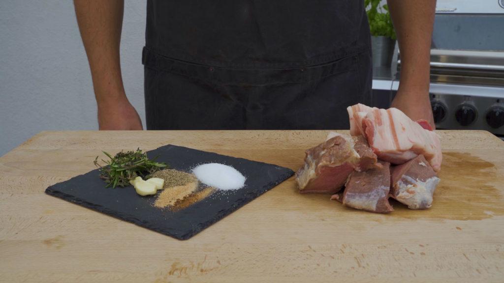 wild boar sausage - all Ingredients
