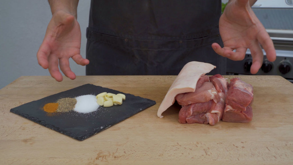 american Andouille - all ingredients